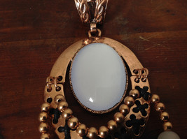 Elegant Bronze Tone Vintage Style Scarf Pendant with Large White Stone and Beads image 4