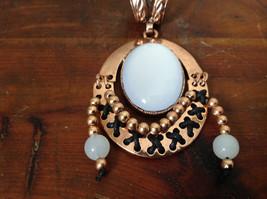 Elegant Bronze Tone Vintage Style Scarf Pendant with Large White Stone and Beads image 2