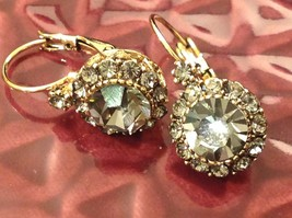 Elegant Gold  Smoky High Quality Crystal Earrings Lever Back Prudence C image 2