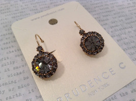 Elegant Gold  Smoky High Quality Crystal Earrings Lever Back Prudence C image 3
