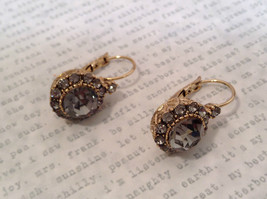 Elegant Gold  Smoky High Quality Crystal Earrings Lever Back Prudence C image 5