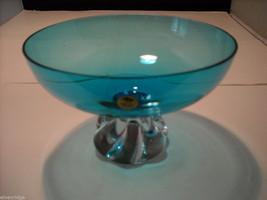 Ekenas Sweden Pedestal Turquoise Blue Glass Footed Bowl image 2
