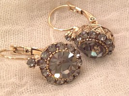 Elegant Gold  Smoky High Quality Crystal Earrings Lever Back Prudence C image 8