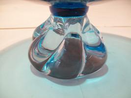 Ekenas Sweden Pedestal Turquoise Blue Glass Footed Bowl image 3