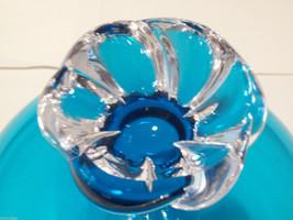 Ekenas Sweden Pedestal Turquoise Blue Glass Footed Bowl image 4