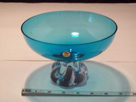 Ekenas Sweden Pedestal Turquoise Blue Glass Footed Bowl image 5