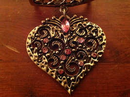 Elegant Pink Crystals Heart Shaped Gold Tone Scarf Pendant by Magic Scarf image 2