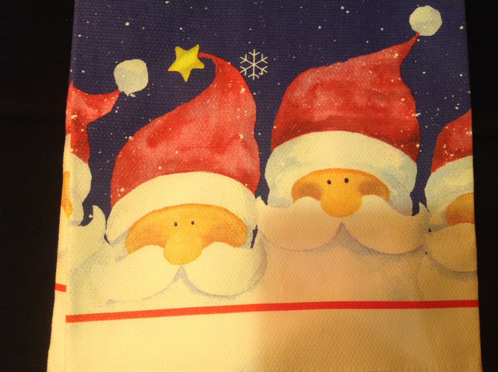 Four Santa Claus Heads Snowflakes Fiddlers Elbow Christmas Dish Towel Cotton