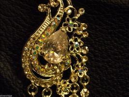 Elegant large dangly Rhinestone Earrings Peacock waterfall design Nickel free image 2