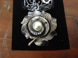 Elegant Silver Tone Finish Flower with Faux Pearl Scarf Pendant by Magic Scarf image 2