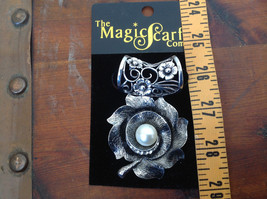 Elegant Silver Tone Finish Flower with Faux Pearl Scarf Pendant by Magic Scarf image 4