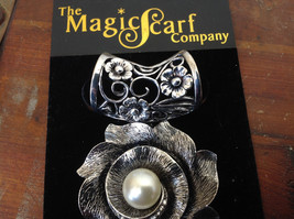 Elegant Silver Tone Finish Flower with Faux Pearl Scarf Pendant by Magic Scarf image 3