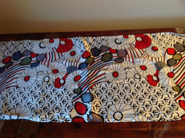 Elegant White Red Black Flowered Scarf Made in India 60 Inches Long image 2