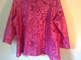 Elemeniz Size XL Pink See Through Long Sleeve Button Down Blouse image 3