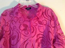 Elemeniz Size XL Pink See Through Long Sleeve Button Down Blouse image 2