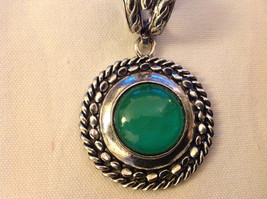 Emerald Colored Stone Scarf Pendant Silver Tone Round  3 Inches Long image 5