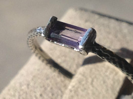 Emerald Cut CZ Synthetic Amethyst Sterling Silver Ring Size 8 image 7