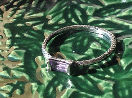 Emerald Cut CZ Synthetic Amethyst Sterling Silver Ring Size 8 image 2