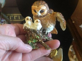 Enamel trinket box barn owl family  with crystals and gold detail image 2