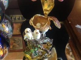 Enamel trinket box barn owl family  with crystals and gold detail image 3