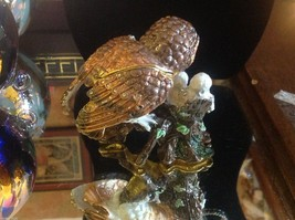Enamel trinket box barn owl family  with crystals and gold detail image 5