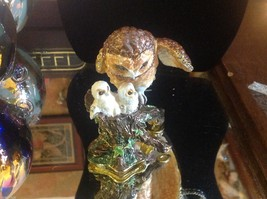 Enamel trinket box barn owl family  with crystals and gold detail image 7