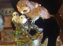 Enamel trinket box barn owl family  with crystals and gold detail image 10