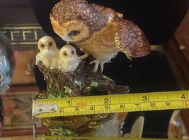 Enamel trinket box barn owl family  with crystals and gold detail image 9