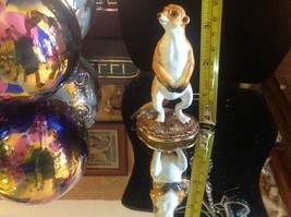Enamel trinket box Meerkat standing up with crystals and gold detail image 8