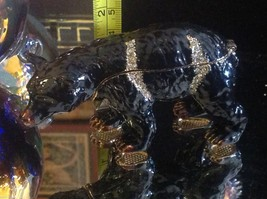 Enamel trinket box Black bear  with crystals and gold detail image 8