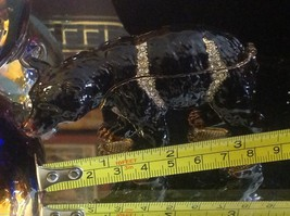 Enamel trinket box Black bear  with crystals and gold detail image 9