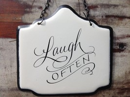 Enameled Metal Sign Laugh Often with Black Chain. Ready to Hang image 3