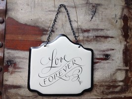 Enameled Metal Sign Love Forever with Black Chain Ready to Hang image 2
