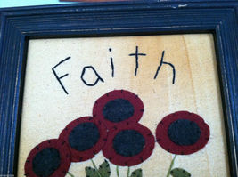 "Framed Felt Potted Fuchsia Poppy Flower picture w/ ""Faith"" Embroidered image 5"