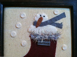 Framed Fabric Stitching Picture of Snowman in Christmas Red Stocking image 3