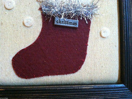 Framed Fabric Stitching Picture of Snowman in Christmas Red Stocking image 4