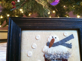 Framed Fabric Stitching Picture of Snowman in Christmas Red Stocking image 2