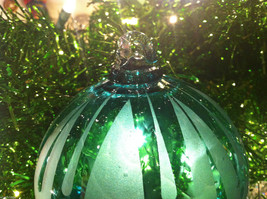 Frosted Hand blown large heirloom glass Christmas ornament Festive Green Teal image 2