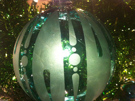Frosted Hand blown large heirloom glass Christmas ornament Festive Green Teal image 3