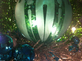 Frosted Hand blown large heirloom glass Christmas ornament Festive Green Teal image 4