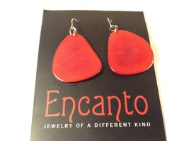 Encanto Jewelry of a Different Kind Red Tagua Dangling Round Homemade Earrings image 2