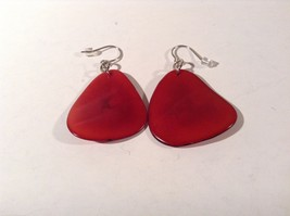 Encanto Jewelry of a Different Kind Red Tagua Dangling Round Homemade Earrings image 4