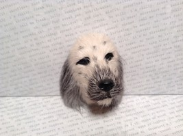 English Setter Head Mini Refrigerator Magnet Recycled Rabbit Fur image 2