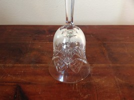 Etched Crystal Glass Bell with Handle Intricate Fragile image 2