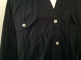 Essentials Black V Neckline Button Up Long Sleeve Shirt Made in China Size 18/20 image 3