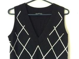 Express Design Studio Black Vest V Neck Sleeveless White Design Size Medium image 3