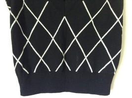 Express Design Studio Black Vest V Neck Sleeveless White Design Size Medium image 4