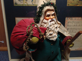 Fabriche Santa Claus Figurine Green with Bag Clothique Collectible image 2