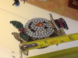 Fabulous Snowman colored rhinestone and crystal brooch pin image 4