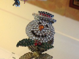 Fabulous Snowman colored rhinestone and crystal brooch pin image 5